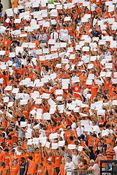 In response to a column written by ESPN's Rick Reilly, thousands of University of Virginia students hold up blank sheets of paper to protest a controversial ban on all signs recently enacted by Virginia's Athletic Department.  The Virginia Cavaliers defeated the #3 ranked (NCAA Division 1 Football Championship Subdivision) Richmond Spiders 16-0 in a NCAA football game held at Scott Stadium on the Grounds of the University of Virginia in Charlottesville, VA on September 6, 2008.