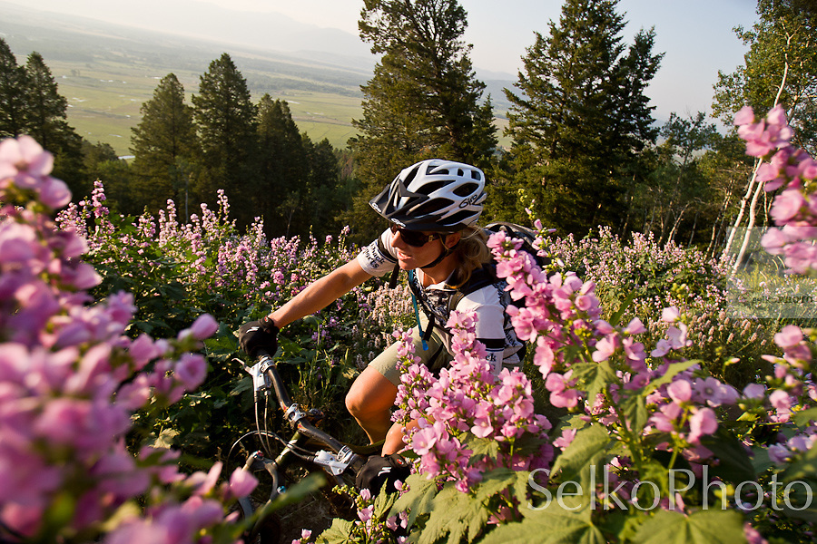 Crystal Wright biking on the trails at the Jackson Hole Mountain Resort, in Teton Village, WY on July 28th 2008.