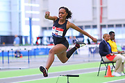 Jean Udo competes in the triple jump  during the USA Indoor Track and Field Championships in Staten Island, NY, Sunday, Feb 24, 2019. (Rich Graessle/Image of Sport)