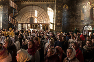 Worshippers attend Sunday Liturgy services at the Refectory Church of Sts. Anthony and Theodosius at the Kyiv-Pechersk Lavra on Sunday, October 7, 2018 in Kyiv, Ukraine.