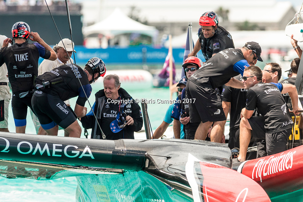 The Great Sound, Bermuda, 26th June 2017. Emirates Team New Zealand win race nine to win the America's Cup. Team Principal Matteo de Nora is congratulated by the sailors.<br /> Copyright photo: Chris Cameron / www.photosport.nz