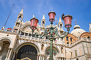 Basilica San Marco (Saint Mark's Cathedral) and street lamp, Venice, Veneto, Italy
