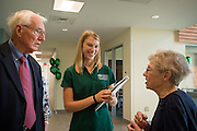Student employees working for the Department of Housing and Residence Life take guests of the Ohio University Residential Housing Phase 1 opening ceremony on a tour of the facility during the event on Saturday, August 29, 2015 at the Living Learning Center on the Ohio University campus in Athens, Ohio.