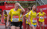 Competitors in the Girls U15 race in the Virgin Giving Mini London Marathon, Sunday 26th April 2015.<br /> <br /> Scott Heavey for Virgin Money London Marathon<br /> <br /> For more information please contact Penny Dain at pennyd@london-marathon.co.uk