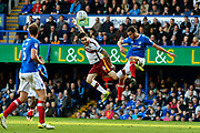 Romain Vincelot (6) of Bradford City battles for possession with Christian Burgess (6) of Portsmouth during the EFL Sky Bet League 1 match between Portsmouth and Bradford City at Fratton Park, Portsmouth, England on 28 October 2017. Photo by Graham Hunt.