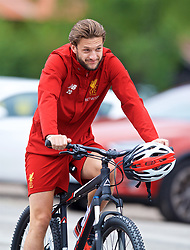 ROTTACH-EGERN, GERMANY - Friday, July 28, 2017: Liverpool's Adam Lallana cycles to a training session at FC Rottach-Egern on day three of the preseason training camp in Germany. (Pic by David Rawcliffe/Propaganda)