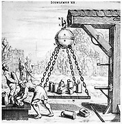 Von Guericke's demonstration of the power of a vacuum.   A platform  was suspended from the bottom of an evacuated sphere made up of two copper hemispheres, and more and more weights were placed on it.  One of a series of demonstrations made by von Guericke. From 'Experimenta Nova ut vocantur Magdeburgica De Vacuo Spatio' ('New Magdeburg Experiments About the Vacuum'), Otto von Guericke, (Amsterdam, 1672). Engraving.