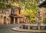 Fountain and courtyard at Tlaquepaque Arts & Crafts Shopping Center in Sedona, Arizona.