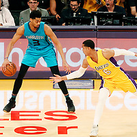 28 February 2017: Los Angeles Lakers guard Jordan Clarkson (6) defends on Charlotte Hornets guard Jeremy Lamb (3) during the Charlotte Hornets 109-104 victory over the LA Lakers, at the Staples Center, Los Angeles, California, USA.