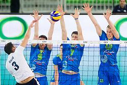 08-06-2013 VOLLEYBAL: EK KWALIFICATIE SLOVENIE - KROATIE: LJUBLJANA<br /> Danijel Galic of Croatia vs Dejan Vincic 39 of Slovenia, Matevz Kamnik #7 of Slovenia and Tine Urnaut #13 of Slovenia during volleyball match between National Teams of Slovenia and Croatia<br /> &copy;2013-FotoHoogendoorn.nl