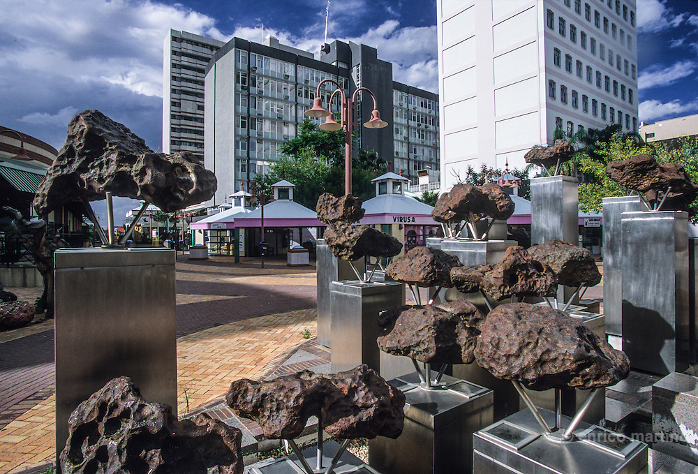 City center. Gibeon Meteorites, 4bn years old when they crashed to earth and spread throught Nambia.