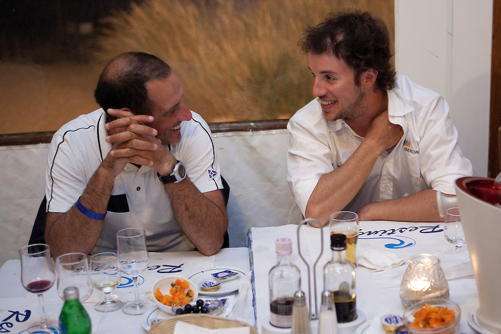 Francesco Bruni and Manuel Weiller at a dinner for skippers and VIPs. Portimao Portugal Match Cup 2010. World Match Racing Tour. Portimao, Portugal. 26 June 2010. Photo: Gareth Cooke/Subzero Images