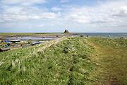 Lindisfarne castle and harbour, Holy Island,  Northumberland, England, UK