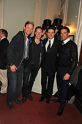 Left to right, dancer IAN WAITE, dancer BRENDAN COLE, actor TOM CHAMBERS and GETHIN JONES at an after show party following the 1st preview show of the new show Top Hat in aid of the charity Starlight held at the Aldwych Theatre, London on 19th April 2012.
