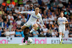 Leeds United's Samu Saiz skips past the challenge of Rotherham United's Semi Ajayi during the Sky Bet Championship match at Elland Road, Leeds.