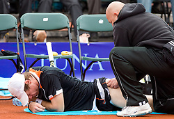Blaz Kavcic of Slovenia  during medical time out in final match against David Goffin of Belgium during day five of the ATP Challenger  BMW Ljubljana Open 2010, on September 26, 2010,  in TC Ljubljana Siska, Slovenia.  (Photo by Vid Ponikvar / Sportida)