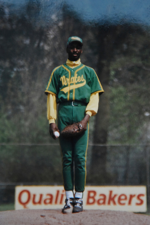 "WILLEMSTAD, CURACAO - DECEMBER 10, 2014:  This family photo shows Gregorius' father Johannes ""Didi"" Gregorius on the mound as a pitcher for the Amsterdam Pirates. He believes that if there were baseball scouts when he was playing, he would have had a shot at the Majors. (photo by Melissa Lyttle)"