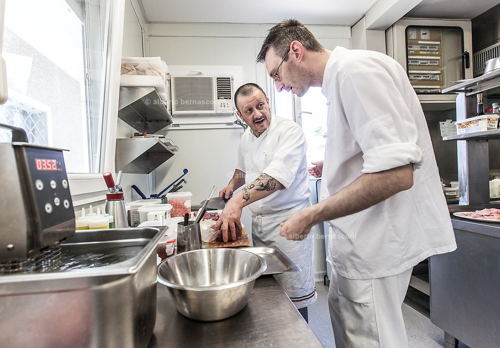 Milan, Bollate, InGalera Restaurant; Massimo e Fabio at work