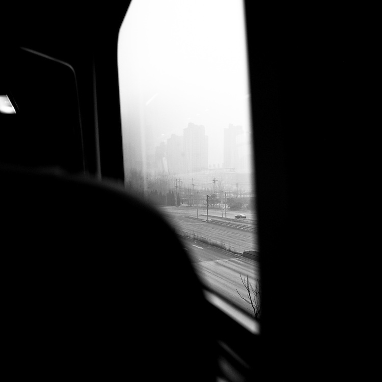Beijing new suburb seen from the airport express train - Winter 2010-2011