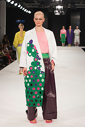 """© Licensed to London News Pictures. 02/06/2015. London, UK. Collection by Nataliya Brady, University of Brighton. Runway show """"Best of Graduate Fashion Week 2015"""". Graduate Fashion Week takes place from 30 May to 2 June 2015 at the Old Truman Brewery, Brick Lane. Photo credit : Bettina Strenske/LNP"""