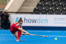 Holcombe's Emma Trunks. Holcombe v Surbiton - Investec Women's Hockey League Final, Lee Valley Hockey & Tennis Centre, London, UK on 29 April 2018. Photo: Simon Parker
