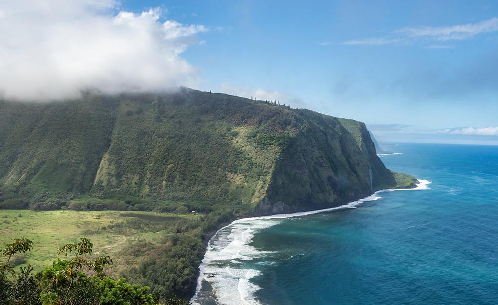 Waipi'o Bay and Valley on North Coast of the Big Island, Hawaii. Winter. Afternoon.