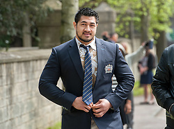 © Licensed to London News Pictures.06/05/2016. Bath, UK.  Bath rugby player ALAFOTI FA'OSILIVA. Alafoti Fa'osiliva outside Bath Magistrates' Court, North Parade Road, Bath, after receiving a suspended sentence for assault. Photo credit : Simon Chapman/LNP