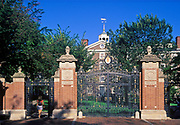 Student enters front gate to Brown University, Providence, Rhode Island