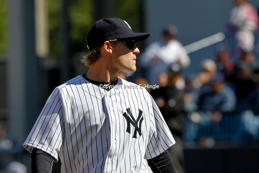 March 4, 2012; Tampa Bay, FL, USA; New York Yankees second baseman Corban Joseph (82) during spring training game at George M. Steinbrenner Field. Mandatory Credit: Derick E. Hingle-US PRESSWIRE