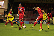 York City midfielder James Berrett has a shot on goal during the Sky Bet League 2 match between York City and Oxford United at Bootham Crescent, York, England on 29 September 2015. Photo by Simon Davies.