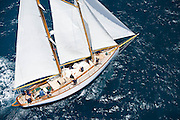 Heron sailing the Old Road Race at the Antigua Classic Yacht Regatta