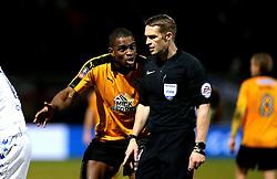 Uche Ikpeazu of Cambridge United argues with referee Craig Pawson - Mandatory by-line: Robbie Stephenson/JMP - 09/01/2017 - FOOTBALL - Cambs Glass Stadium - Cambridge, England - Cambridge United v Leeds United - FA Cup third round