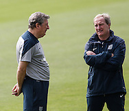 England manager Roy Hodgson (L) speaks to Ray Lewington during the England training session at Est&aacute;dio Claudio Coutinho, Rio de Janeiro, Brazil<br /> Picture by Andrew Tobin/Focus Images Ltd +44 7710 761829<br /> 21/06/2014
