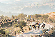Mexican cowboys ride though the high desert to join the annual Cabalgata de Cristo Rey cowboy pilgrimage January 4, 2017 in Guanajuato, Mexico. Thousands of Mexican cowboys and horse take part in the three-day ride to the mountaintop shrine of Cristo Rey.