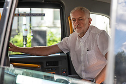 © Licensed to London News Pictures. 01/08/2018. London, UK. Labour Party leader Jeremy Corbyn leaves his north London home in a taxi. Photo credit: Rob Pinney/LNP