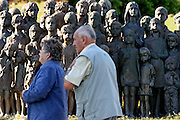 Lidice/Czech Republic, CZE, 23.09.06: Lidice (Liditz in German) is a village in former Czechoslovakia (now in the Czech Republic) which was completely destroyed by the Nazis during World War II. About 340 men, women and children from the village were murdered by the Nazis. The bronze monument of Lidice children that should be also understood as A Monument of childrens war victims - 42 girls and 40 boys were murdered in 1942 by the Nazis.