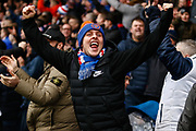 Rangers fans celebrate a late winner during the Ladbrokes Scottish Premiership match between St Mirren and Rangers at the Simple Digital Arena, Paisley, Scotland on 3 November 2018.
