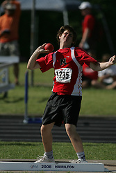 London, Ontario ---07/06/08--- Cole Boersma of Northern  in Sarnia competes in the Shot put at the 2008 OFSAA Track and Field meet in Hamilton, Ontario..Sean Burges