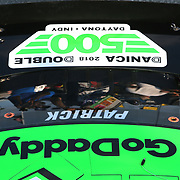 The rear of Danica Patrick's  #7 GoDaddy Chevrolet is seen during practice for the 60th Annual NASCAR Daytona 500 auto race at Daytona International Speedway on Friday, February 16, 2018 in Daytona Beach, Florida.  (Alex Menendez via AP)