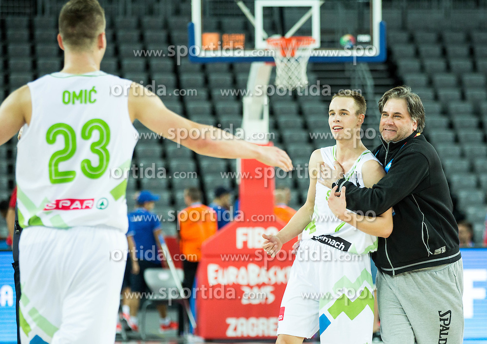 Klemen Prepelic of Slovenia and dr. Branko Cviticanin celebrate after winning during basketball match between Slovenia vs Netherlands at Day 4 in Group C of FIBA Europe Eurobasket 2015, on September 8, 2015, in Arena Zagreb, Croatia. Photo by Vid Ponikvar / Sportida