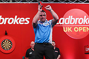 Gerwyn Price wins his fourth round match against Joe Cullen during the Ladrokes UK Open 2019 at Butlins Minehead, Minehead, United Kingdom on 1 March 2019.