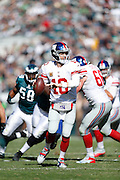 New York Giants quarterback Eli Manning (10) looks to pass the ball during the NFL week 8 football game against the Philadelphia Eagles on Sunday, Oct. 27, 2013, at Lincoln Financial Field in Philadelphia, Pennsylvania. The Giants won the game 15-7. (Joe Robbins)