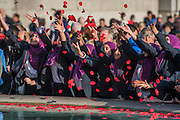 Girls in hijabs (headscarfes) from Eden Girl's school, in Waltham Forest, show their support - Silence in the Square oraganised by the British Legion in Trafalgar Square  - 11 November 2016, London.