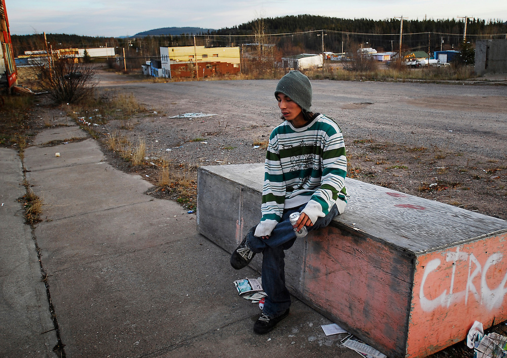 URANIUM CITY, SK - 17/10/08 -  One of Uranium City's younger adults takes a beer break at the home-made skate park.  Photo by Daniel Hayduk