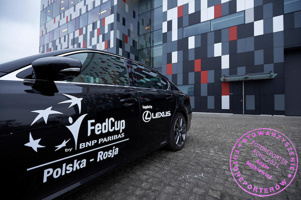 Lexus cars - official transport during official draw one day before the Fed Cup / World Group 1st round tennis match between Poland and Russia at Holiday Inn on February 6, 2015 in Cracow, Poland.<br /> <br /> Poland, Cracow, February 6, 2015<br /> <br /> Picture also available in RAW (NEF) or TIFF format on special request.<br /> <br /> For editorial use only. Any commercial or promotional use requires permission.<br /> <br /> Adam Nurkiewicz declares that he has no rights to the image of people at the photographs of his authorship.<br /> <br /> Mandatory credit:<br /> Photo by &copy; Adam Nurkiewicz / Mediasport