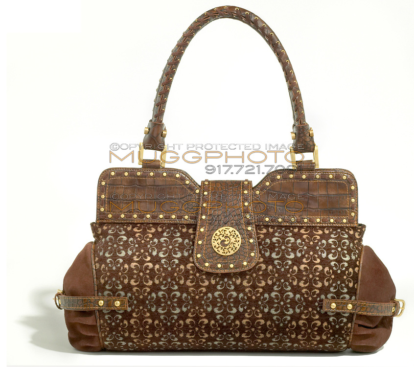 printed house of dereon brown leather handbag with gold jewels
