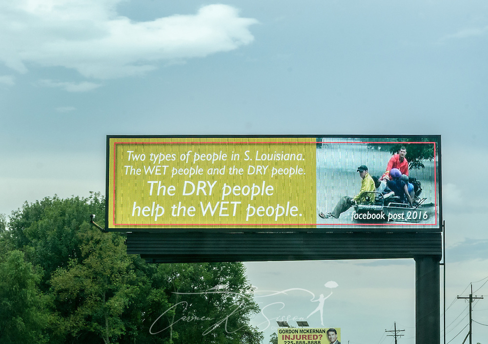 A sign reflects the Louisiana spirit, Aug. 25, 2016, in Gonzales, La. Thousands of Louisiana residents were affected by a devastating flood caused by heavy rainfall in mid-August. Many ordinary citizens made heroic efforts to help their neighbors. (Photo by Carmen K. Sisson)