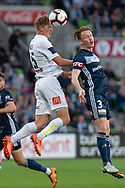 Central Coast Mariners defender Kye Rowles (15) wins the header at the Hyundai A-League Round 4 soccer match between Melbourne Victory and Central Coast Mariners at AAMI Park in Melbourne.