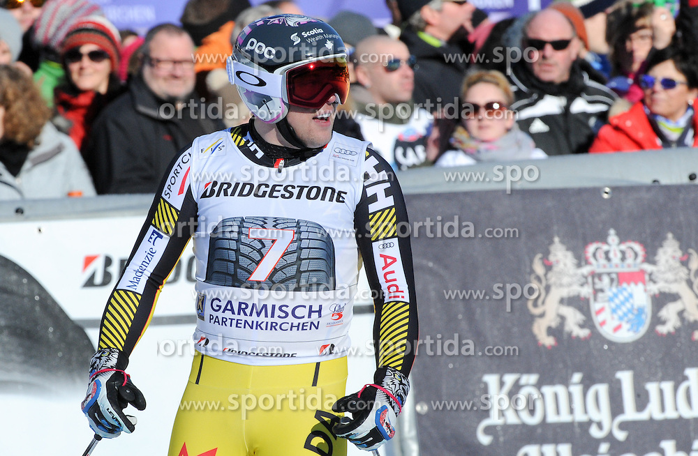 30.01.2016, Kandahar, Garmisch Partenkirchen, GER, FIS Weltcup Ski Alpin, Garmisch Partenkirchen, Abfahrt, Herren, im Bild Benjamin Thomsen (CAN) // Benjamin Thomsen of Canada reacts after his run of the men's Downhill of Garmisch FIS Ski Alpine World Cup at the Kandahar in Garmisch Partenkirchen, Germany on 2016/01/30. EXPA Pictures © 2016, PhotoCredit: EXPA/ Erich Spiess