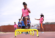 CAPE TOWN, SOUTH AFRICA - MARCH 10: a young athlete doing some hurdle drills during the TrackGirlz events at University of Western Cape on March 10, 2018 in Cape Town, South Africa. (Photo by Roger Sedres/ImageSA)